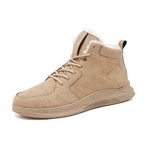 Alebaba Hombres Otoño Invierno Alto Top Zapatillas De Hombre Moda Casual Cuero Cálido Al Aire Libre Senderismo Senderismo Zapatos De Trekking, color Beige, talla 39 2/3 EU
