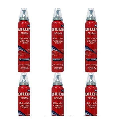 6 X Spuma per Capelli BILBA Tenuta Extra Forte Semi di lino e Cristalli Liquidi