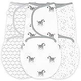 Amazing Baby by Swaddledesigns, Set de 3 Mantas Ajustables Para Bebé, Cebra, Confeti y Entramado, Plata, Pequeño, 0-3 Meses
