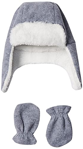 Hudson Baby baby girls Fleece Trapper and Mitten Set Cold Weather Hat, Heather Gray Baby, 0-6 Months US