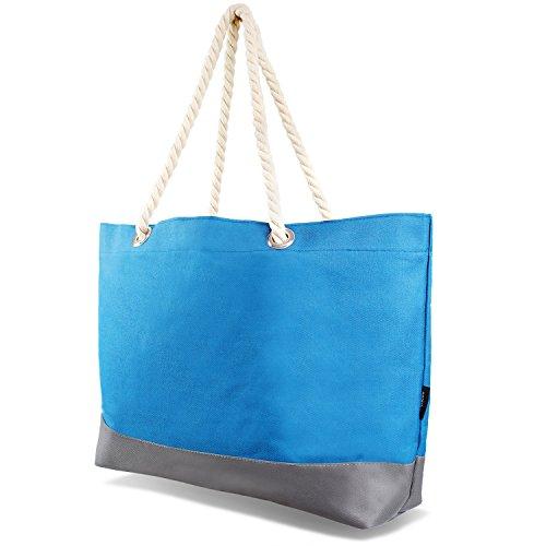Beachbag Grosse Strandtasche Badetasche für Damen Weekend Bag - Navy