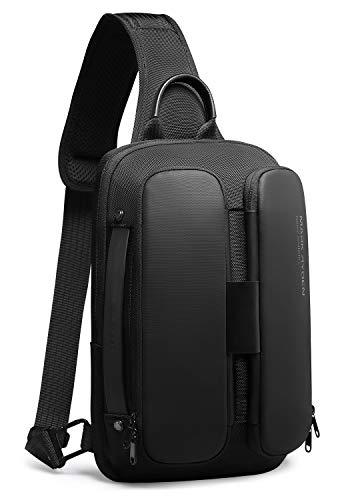 Mark Ryden Bolso Bandoleras Hombre Impermeable con Puerto de Carga USB, Casual Rucksack Antirrobo para Escalada Bolsa de Pecho Hombre,Puede Contener MacBook de 9.7 Pulgadas