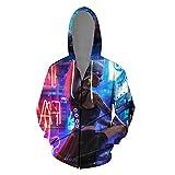 MWMMWLH Sudaderas con Capucha,Cyberpunk Series Sudadera con Cremallera para Hombre Juventud Bonita con Cordón Moda Pareja Personalidad 3D Anime Suéter Unisex-Multicolor 4XL