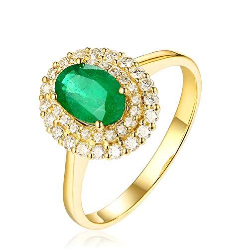 AueDsa Anillo Verde Anillo Oro Amarillo 18 Kilates Mujer Oval Diamante Esmeralda Verde Blanca 0.74ct Anillo Talla 6,75