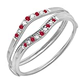 Dazzlingrock Collection Round Ruby & White Diamond Ladies Anniversary Enhancer Guard Wedding Band, 10K White Gold, Size 7