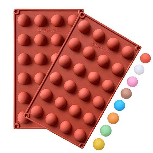 Joyeee Hochwertigem Schokoladenform / Pralinenform für Eiswürfe, Gelee, Pudding, Kuchenverzierung - 24 er Halbkugel Silikonform, Antihaftbeschichtet, BPA freies Lebensmittelsilikon