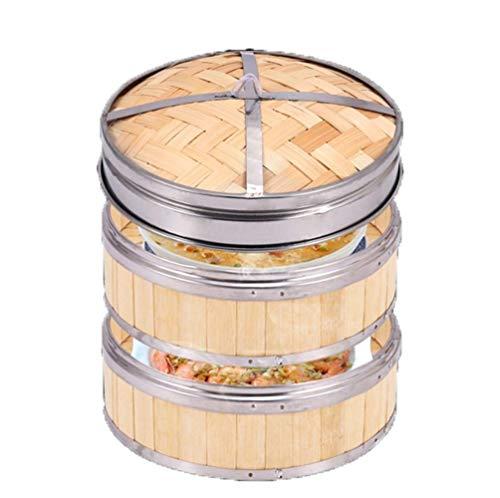 BGSFF Vaporera de bambú de 8 Pulgadas Cocina Saludable para Bollos de Cocina asiática Albóndigas Verduras Pescado Ollas arroceras Vapores para cocinar Cesta de arroz al Vapor Natural (Co