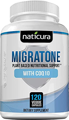 Naticura Migraine Defense Migratone - Natural Headache Relief Support - Ashwagandha Supplement with Butterbur 150mg, Magnesium, CoQ10 and Feverfew for Migraines - 120 Vegan Caps - Made in The USA