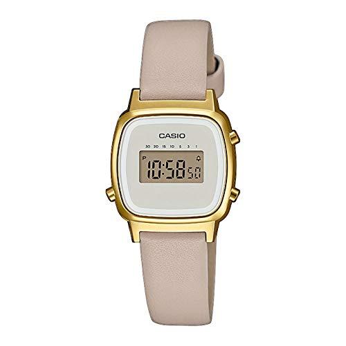 Casio Damen Digital Quarz Uhr mit Echtes Leder Armband LA670WEFL-9EF