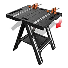 "Versatile worktable converts to a sawhorse or work bench in seconds – no assembly required Compact, foldable and lightweight for go-anywhere usage and storage – only 5"" depth when folded Worktable supports up to 300 lbs., sawhorse supports up to 1,00..."