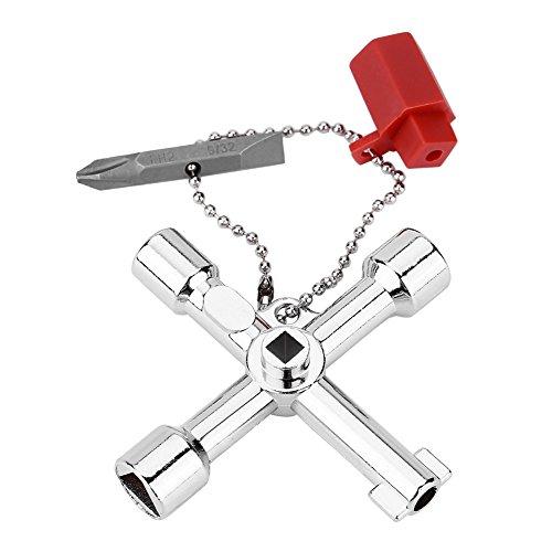 4 in 1 Universal Utilities Key, 4-fach multifunktionaler Universal-Kreuzschlüssel mit Bit-Zink-Legierung Installateure Elektriker-Werkzeuge