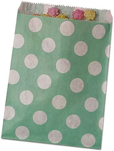 25ea - 5-1/8 X 6-3/8 Teal Polka Dot Merchandise Bag-Pkg