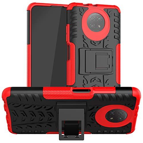 Neumáticos Funda para Xiaomi Redmi Note 9 5G, 2in1 Armadura Combinación A Prueba de Choques Heavy Duty Escudo Cáscara Dura con Soporte (Rojo)