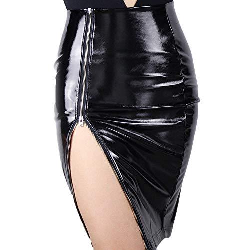Latex Pencil Skirt Shine Patent Leather Black High Rise Split Zipper Vinyl PVC (M, Black)