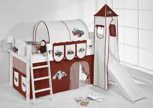 Lilokids Spielbett IDA 4105 Trecker Braun Beige-Teilbares Systemhochbett weiß-mit Turm, Rutsche und Vorhang Kinderbett, Holz, 208 x 220 x 185 cm