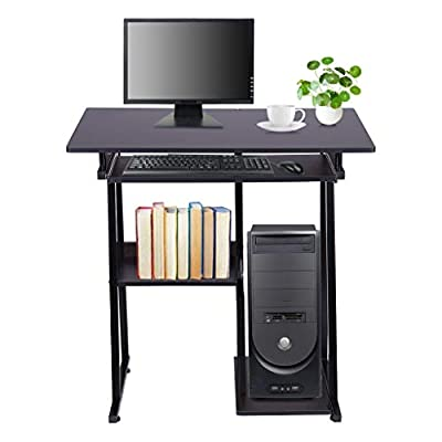 shamoluotuo Efficient Home Laptop Notebook Computer Desk with Bookshelf Pullout Keyboard Tray and CPU Holder PC Laptop Study Writing Table Workstation Desk for Home Office Gaming Desk