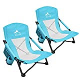 Oileus Low Beach Chair for Beach Tent & Shelter & Camping | Outdoor Ultralight Backpacking Folding Recliner Chairs with Cup Holder & Storage Bag, Carry Bag, Breeze Mesh Back, Compact Duty Blue 2 Pack