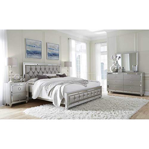 Best Buy! Global Furniture USA Riley Bedroom Set - 5pc, Silver, Includes Inside Delivery with Assemb...