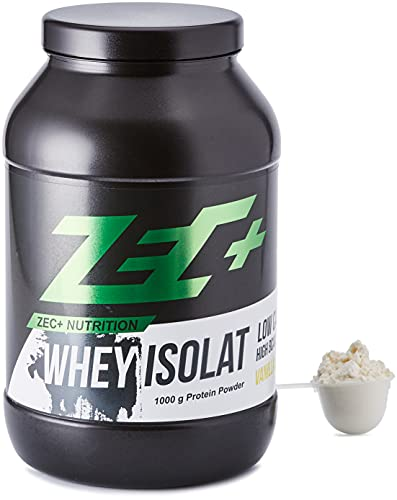 ZEC+ Whey Isolat – 1000 g, Vanille │ Fettarmes Eiweißpulver aus reinem Molkenprotein