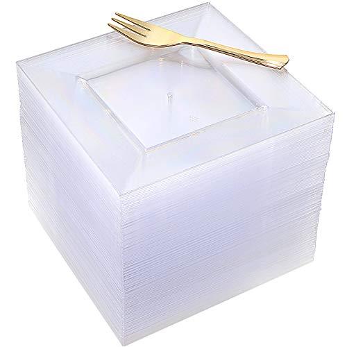 100pcs Square Dessert Plates with 100pcs Gold Dessert Forks, Clear Premium Plastic Salad Plates, Party Essentials Appetizer Plates,Gold Plastic Silverware, 6 Clear Dessert Plates and 5 Gold Forks