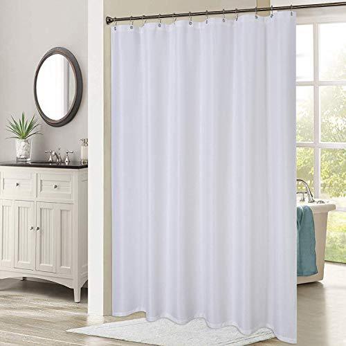 LinTimes Extra Lange Duschvorhänge Weiß Blickdicht Bad Vorhang Badewannevorhang Waschbar Shower Curtain aus Polyester Waffel Wasserabweisend Duschvorhang, B183cm x H244cm
