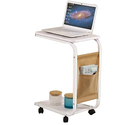 ZXL Laptop Desk Desk Multi-Function Portable Bedside Sofa Side Table Shelf with Pulley, 2 Layers, High 65CM (Color : White)