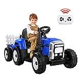 METAKOO Tractor Eléctrico 12V 7Ah, 2+1 Cambio de Marchas, 25W Tractor Batería con Remolque, Bocina/ Reproductor MP3/ Bluetooth/ Puerto USB/ Faro de 7 LED, Control Remoto para Niño 3-6 años (Azul)