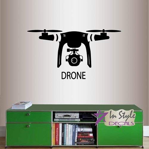Lplpol muur Vinyl Decal Home Decor Art Sticker Drone met Camera Robot Technologie Kids Slaapkamer Woonkamer Verwijderbare Stijlvolle Mural Uniek Ontwerp 2080