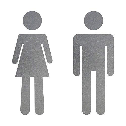 GreenIT Aufkleber 10cm Silber Mann Frau Tattoo Decal Piktogramm Symbol Zeichen Toilette WC 00 Bad 4061963017906