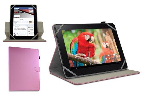 Navitech pinkes bycast Leder Case / Cover 360 Grad rotierbar für das Medion Lifetab E10316 10,1 Zoll Internet Tablet