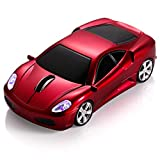 BKLNOG Sports Car Computer Mouse [Updated] with LED Headlights, 1600 DPI 2.4 GHz Wireless Mouse for PC & Mac, Red