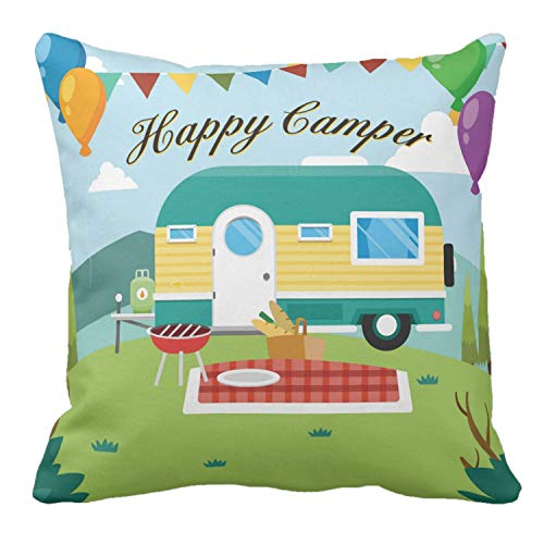 Classic Happy Camper Decorative Throw Pillow Cover
