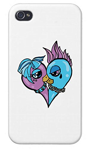 Apple iPhone Custom Case 5 / 5S White Plastic Snap On - Blue and Pink Punk Dove Heart