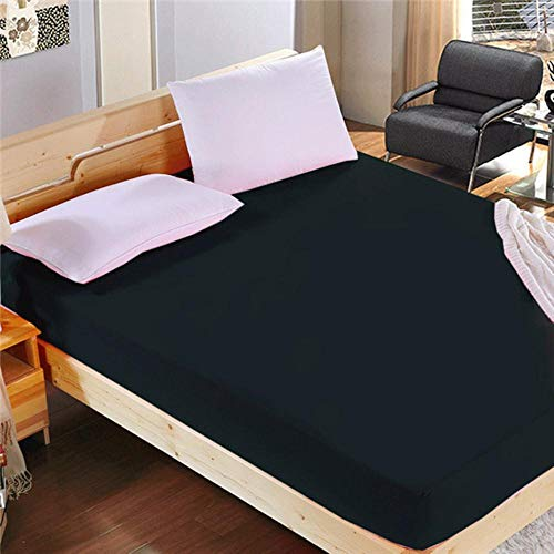 PENVEAT 1pc 100% Polyester Solid Mattress Cover Sheet Four Corners With Elastic Fitted Sheet pillowcase,Black,140cmX200cmX26cm