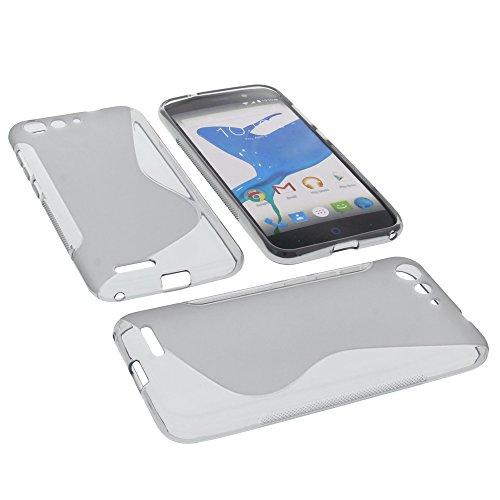 foto-kontor Tasche für ZTE Blade V6 Welle Gummi TPU Schutz Handytasche grau