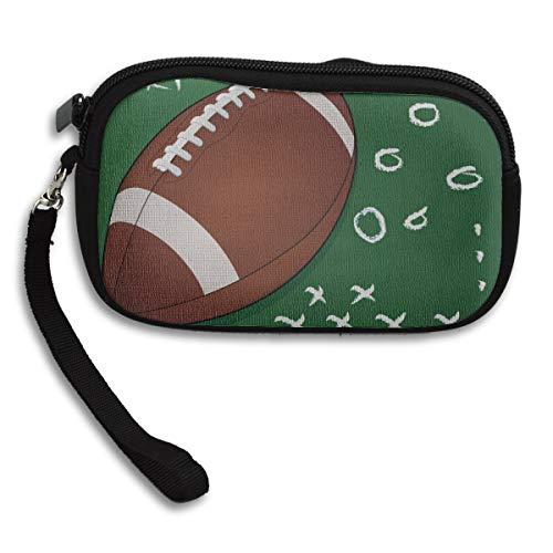 Kleine Geldbörse Colourfulfashion Cartoon American Rugby Neopren Frau Wristlet Wallet Kosmetiktaschen für Teenager Münzschlüsselbeutel mit Riemen 6x3.7x0.2inch für Erwachsene Mädchen Frauen Kinder