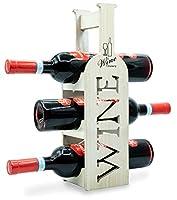 torre portabottiglie vino in bambù - cantinetta per esposizione di 3 bottiglie classiche di vino - dal design esclusivo e minimal - ottima idea regalo - pensato per tutti gli ambienti