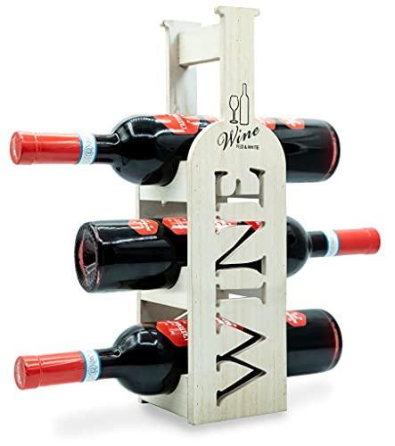 Torre Portabottiglie Vino - In Bambù - Cantinetta per l'esposizione di 3 Bottiglie classiche di Vino - dal Design esclusivo e Minimal - Ottima Idea Regalo - ottimo per tutti gli Ambienti.