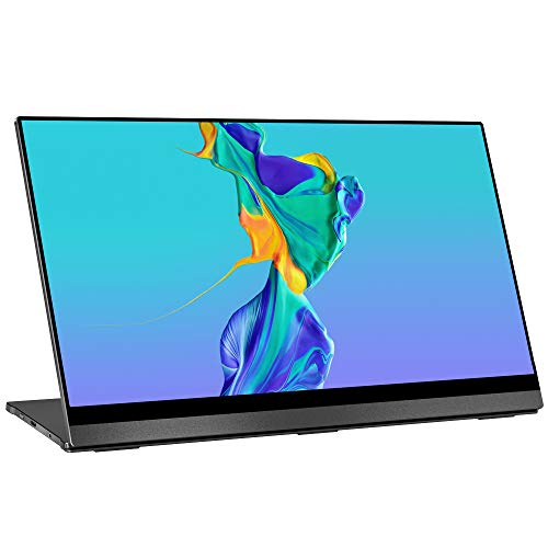 4K Portable Monitor Touchscreen, UPERFECT Gravity Sensor Automatic Rotate 15.6'' Slimmest 10-Point Touch UHD 3840x2160 Dual USB C Monitor Bracket Integrated & Frameless Bezel Glass HDMI Laptop Display