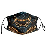 aportt Japanese Samurai Face Mask Reusable 3D Printed Oni Face Cover Breathable Adjustable Elastic Ear Rope Mouth Cover Windproof Dustproof Face Scarf with 2 Air Filter for Men and Women Balaclava