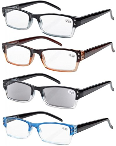 Eyekepper 4 pack Gafas sol de lectura rectangular con bisagras de resorte +3.00