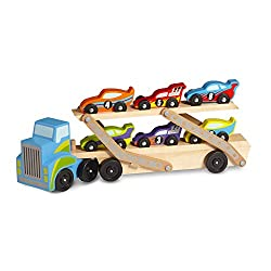 MEGA RACE CAR CARRIER: This giant hauler comes stocked with six unique cars and unlimited play possibilities! EASY LOADING: The top level of the two-level carrier folds down for easy loading and unloading, and extends to a whopping 75 cm long! 6 UNIQ...