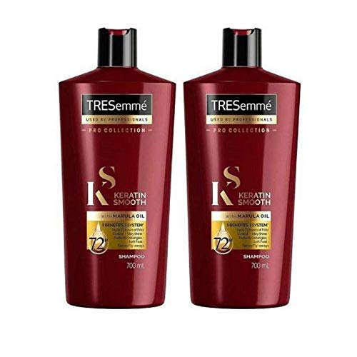 Tresemme Keratin Smooth Shampoo with Marula Oil, Pro Collection - 24 Fl Oz / 700 mL x 2 Pack