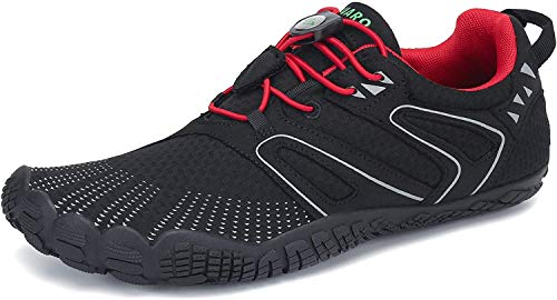 SAGUARO Barfußschuhe Herren Outdoor Sport Traillaufschuhe Fitnessschuhe Damen Barfuß Laufschuhe Walkingschuhe Minimalistische Zehenschuhe St.1 Rot 43