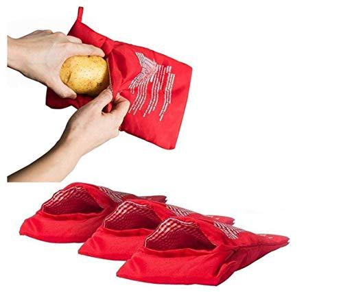 4 sacchetti lavabili per microonde per patate, riutilizzabili per microonde e patate, utilizzate per preparare patate perfette in 4 minuti, rosso, 25 x 19 cm