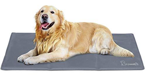 Pecute Alfombra Refrescante para Perro Actualización Engrosada 0.4mm 300D Oxford Alfombrilla de Refrigeración Automática para Animales de Compañía (XL 120*75CM, Gris)