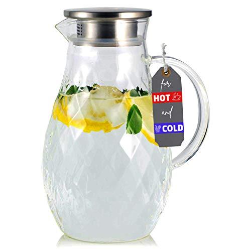 Karaffe aus Borosilikatglas mit Deckel und Ausgießer - Glaskaraffe mit einzigartigem Rautenmuster für 2 Liter kaltes oder heißes Wasser - Getränkekanne für hausgemachten Eistee und Saft