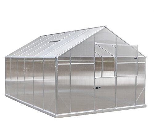 Gampre Aluminium Gewächshaus-Set, Gartenhaus inklusive Fundament, Pflanzenhaus Sanus XL12 Silber // 290x430x225 cm // Frühbeet, Aufzucht und Treibhaus