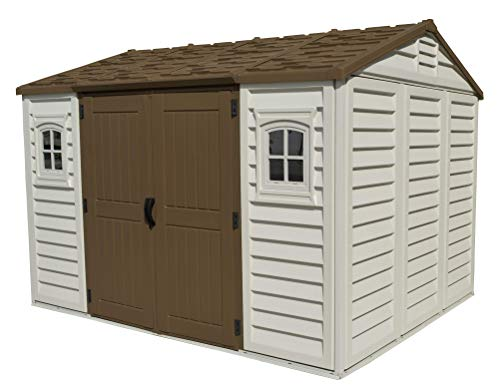 Duramax Apex 10.5' x 8' Plastic Garden Storage Shed, Adobe & Brown, Fire Retardant & All-Weather Outdoor Solution, Store Bikes, Tools, BBQ & Home Gym, Strong Structure & Maintenance-Free Vinyl Shed