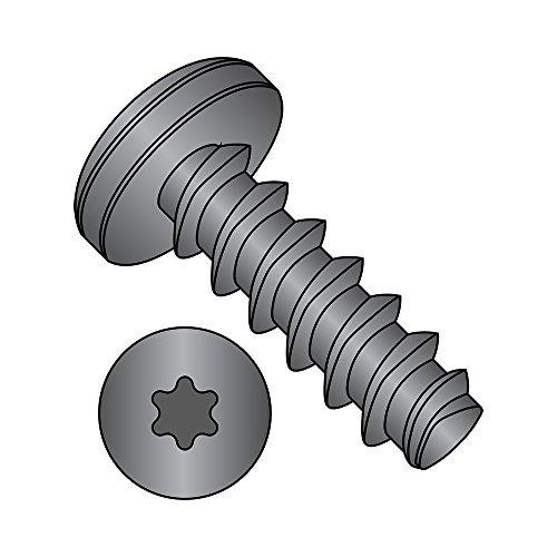 Steel Thread Rolling Screw for Plastic, Black Oxide Finish, Pan Head, Star Drive, #10-14 Thread Size, 3/4